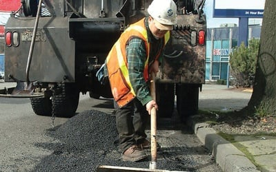 Construction worker wearing high-visibility apparel
